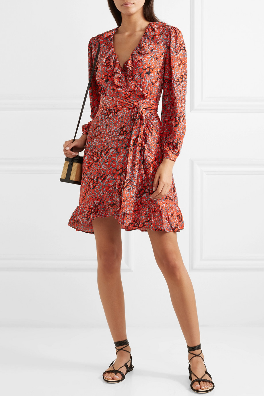 Maje Ruffled leopard-print crepe wrap mini dress $395
