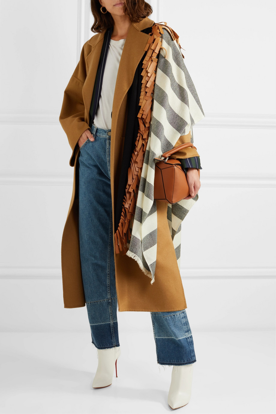 MELT Fringed leather-trimmed striped wool wrap $820