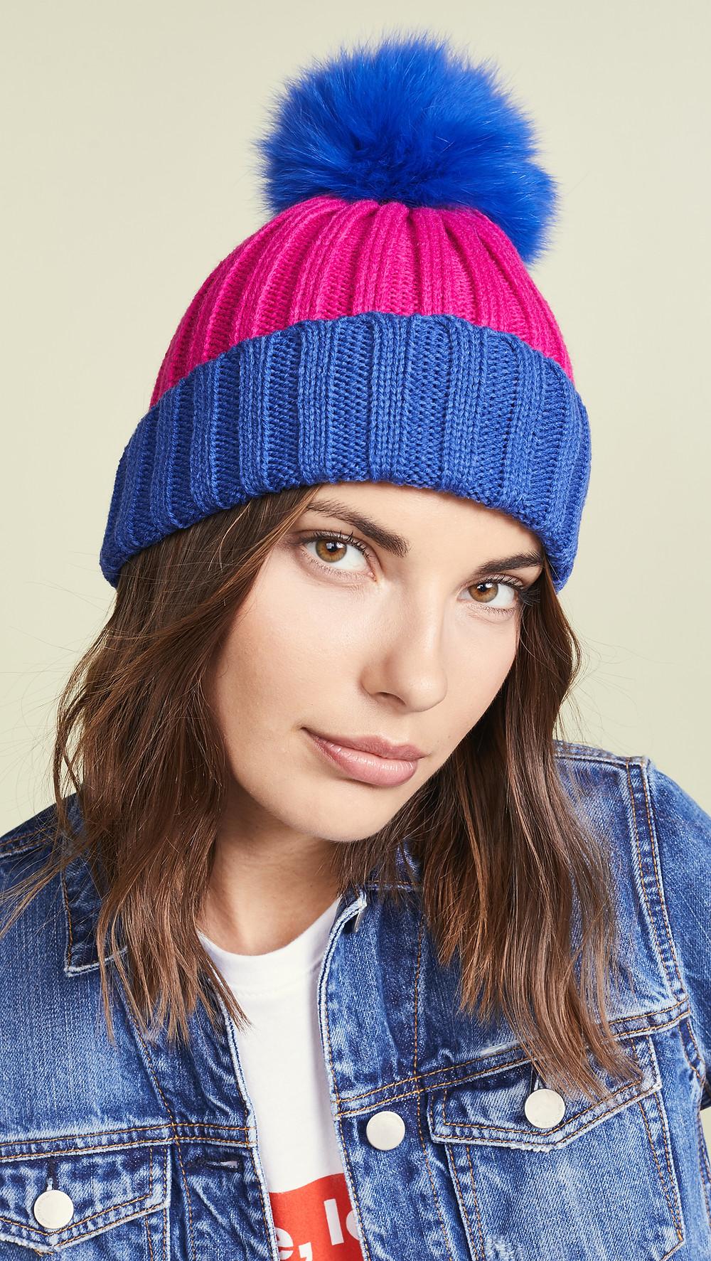 Adrienne Landau Ribbed Two Tone Hat with Fur Pom $75