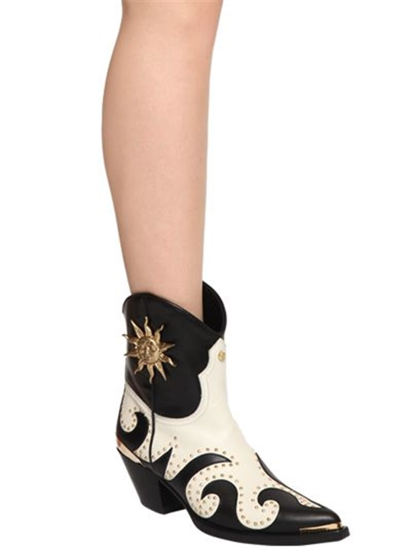 Fausto Puglisi 50mm Studded Leather Cowboy Boots $1,184