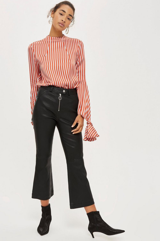Topshop Premium Leather Kick Flare Pants $420