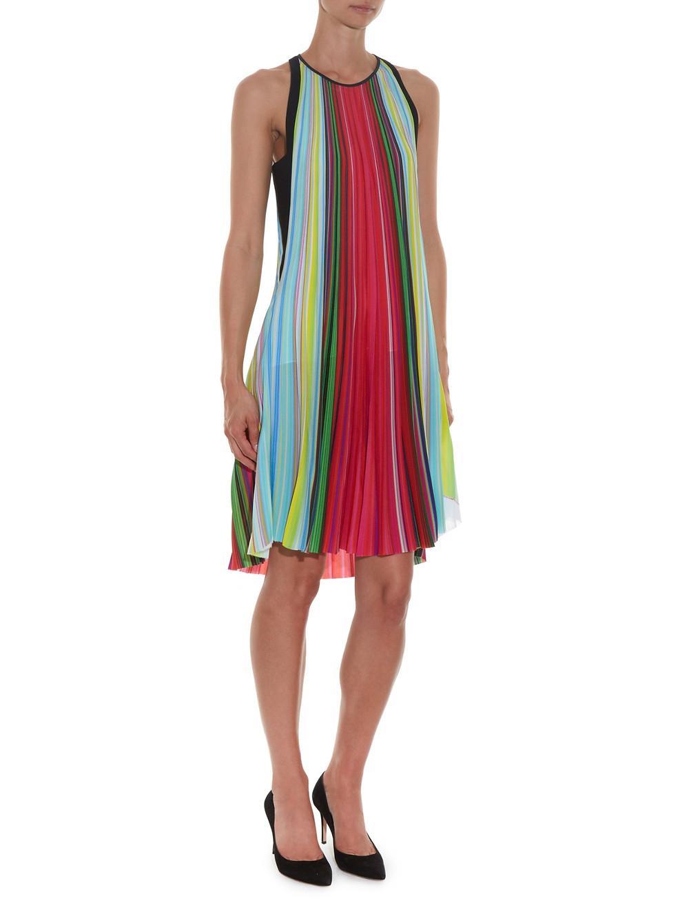 Mary Katrantzou rainbow stripe dress $1,450