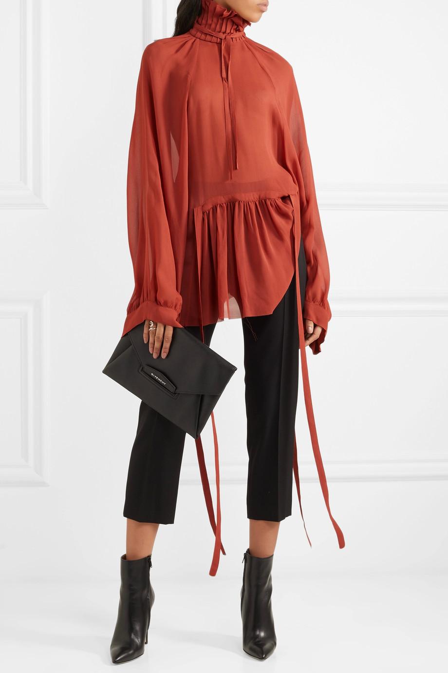 Ann Demeulemeester Ruffled chiffon blouse $1,030