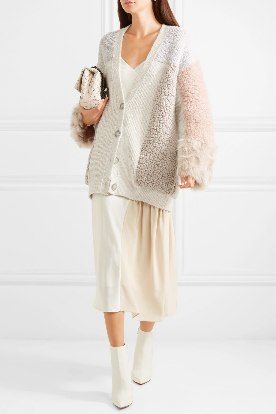 Stella McCartney Oversized patchwork cotton-blend and faux fur cardigan $1,315