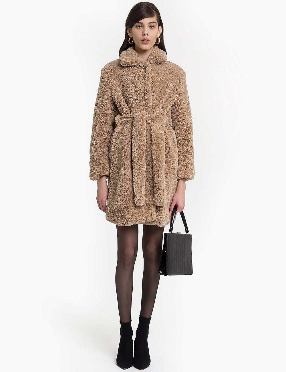 Pixie Market Beige Belted Faux Fur Robe Coat $295
