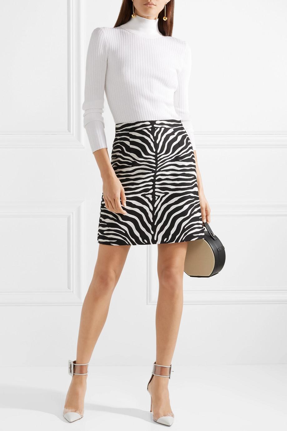 Michael Kors Collection Zebra Print Wool-jacquard mini skirt $550