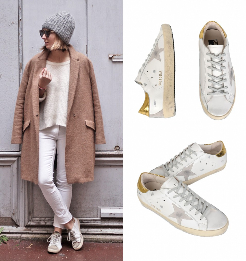 Cute simple weekend look-winter white with camel coat and Golden Goose sneakers; knit heat and sunglasses