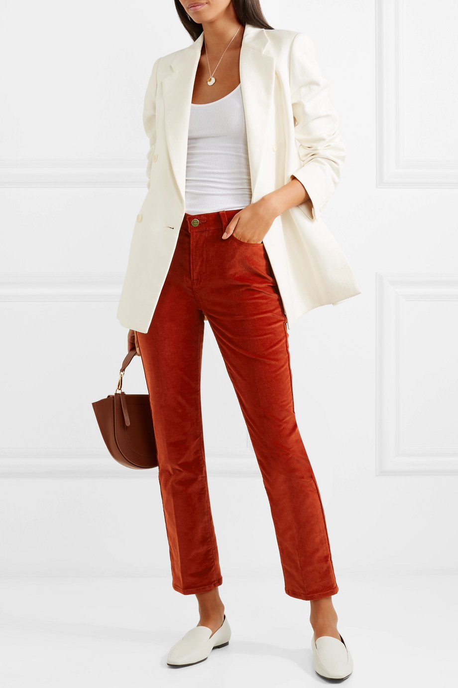Frame Le High cotton-blend corduroy straight-leg pants $195