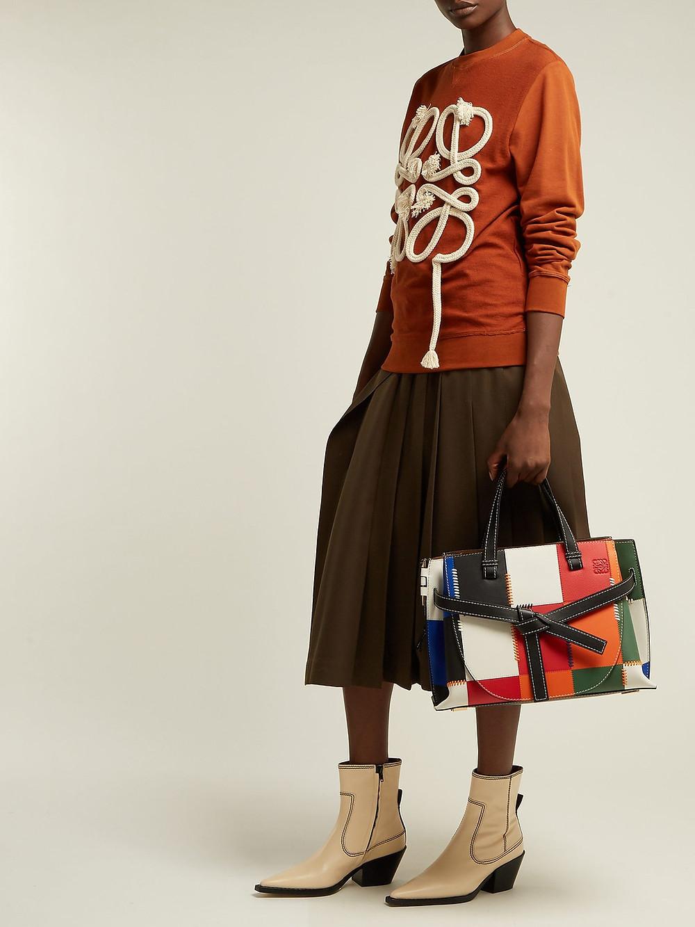 Loewe Gate patchwork leather tote bag $3,950