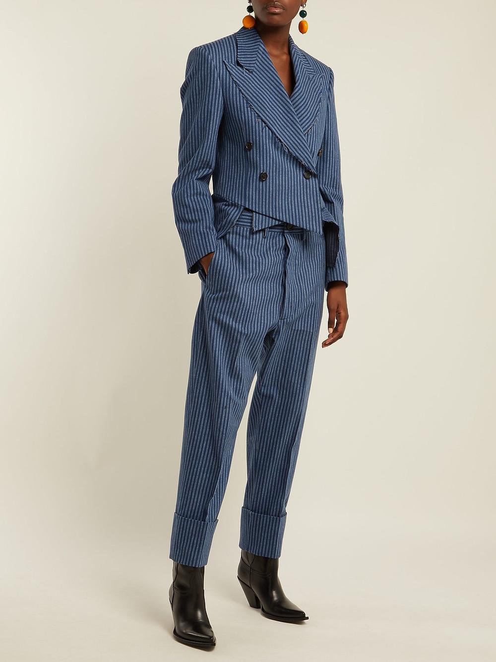 Vivienne Westwood Striped brushed-cotton cutaway blazer $1,135
