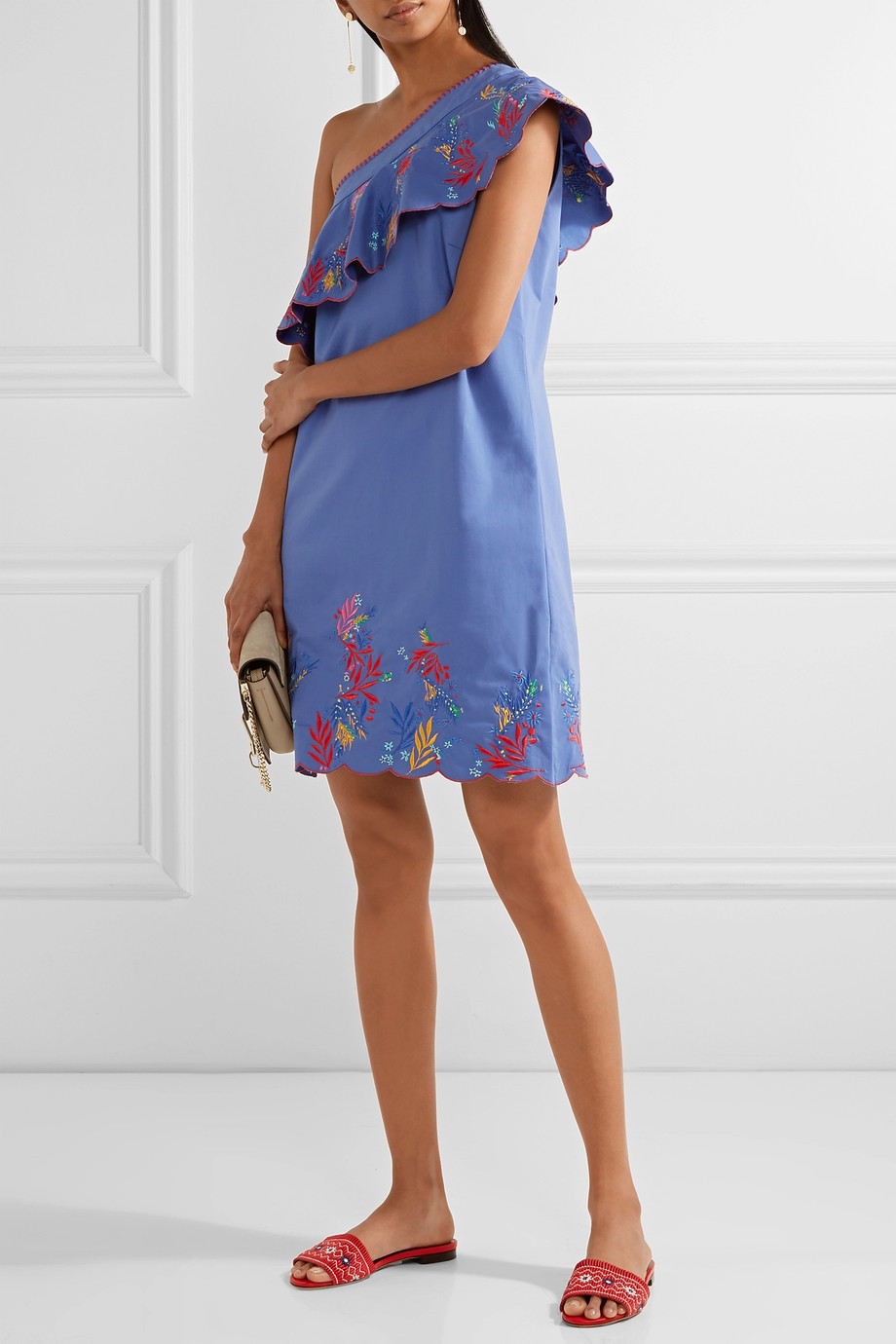 Saloni Esme one-shoulder embroidered washed stretch-cotton mini dress now $308