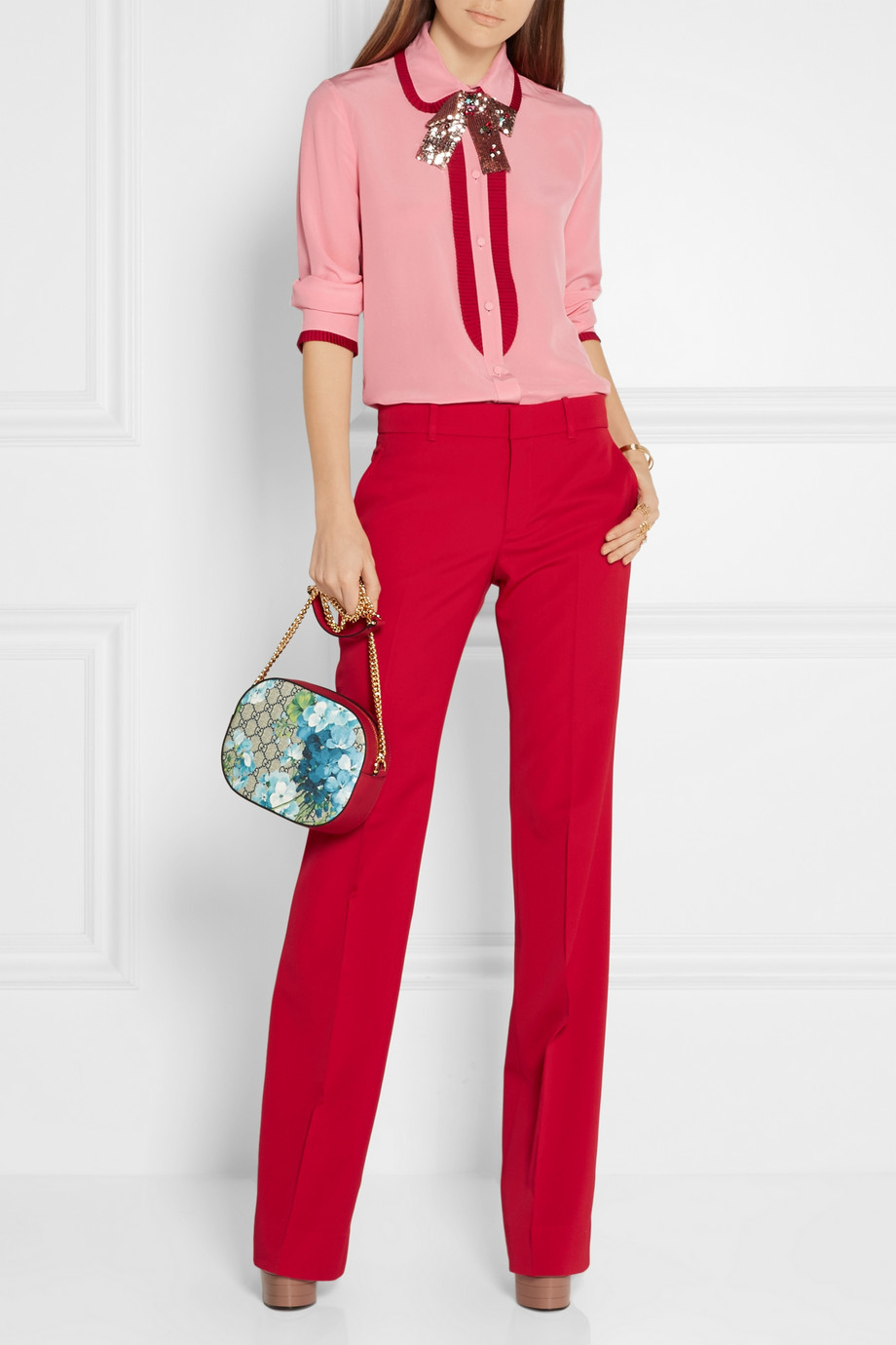 Gucci Grosgrain-trimmed silk crepe de chine blouse with Peter Pan collar $1,390