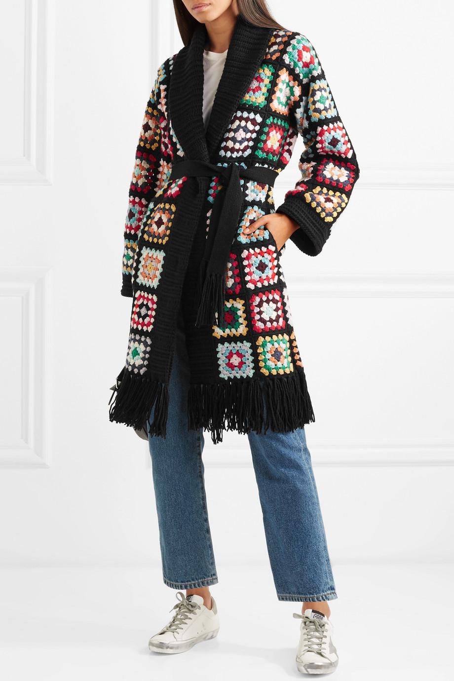 Alanui Fringed Patchwork crocheted cashmere cardigan $6,161.11
