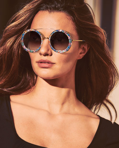 Dolce & Gabbana Round Clip-On Front Metal Sunglasses $590