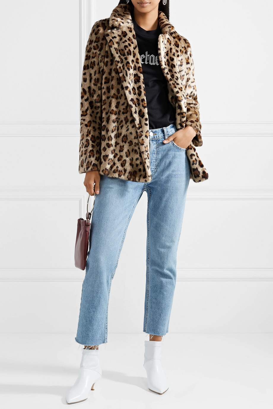 Theory Clairene leopard-print faux fur jacket $417