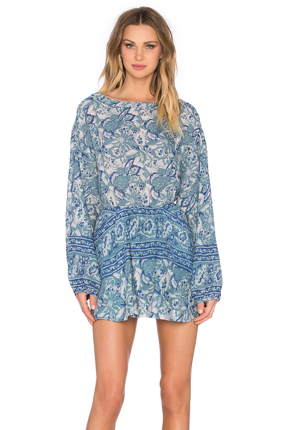 Free People Sun print dress in washed blue $128
