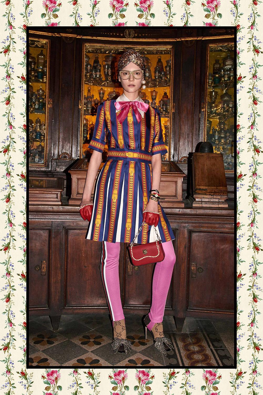 Gucci Fall/Winter 2017 look - Sylvie Chain print silk dress $2,700