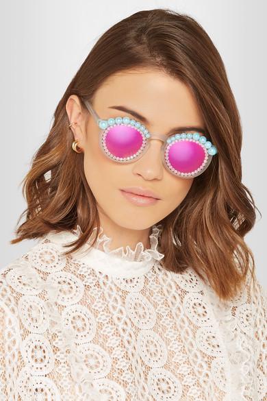 Freda Banana Lulu round-frame embellished matte-acetate mirrored sunglasses $200