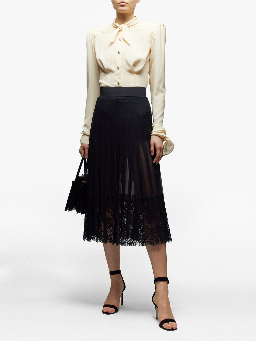 Dolce & Gabbana Tie-neck exaggerated-shoulder crepe blouse $1,015