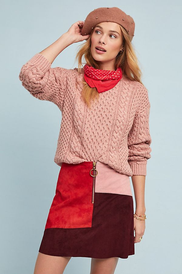 M.i.h Dalary Patchwork Suede Mini Skirt $445