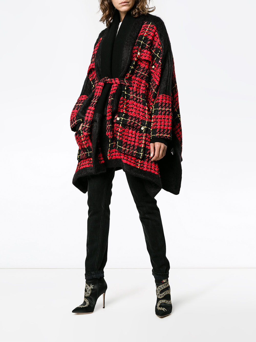 Balmain tweed check cape $7,238