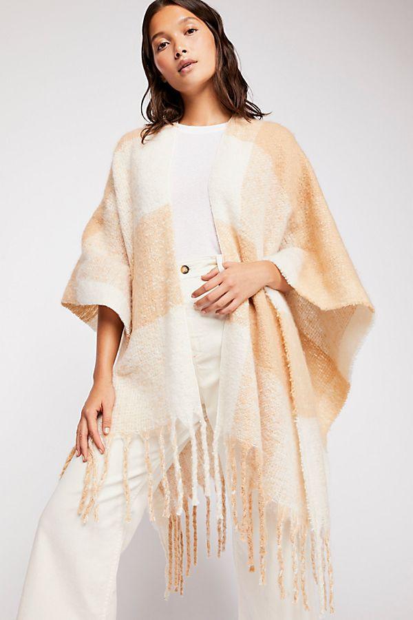 Hampton Brushed Plaid Blanket Wrap $68