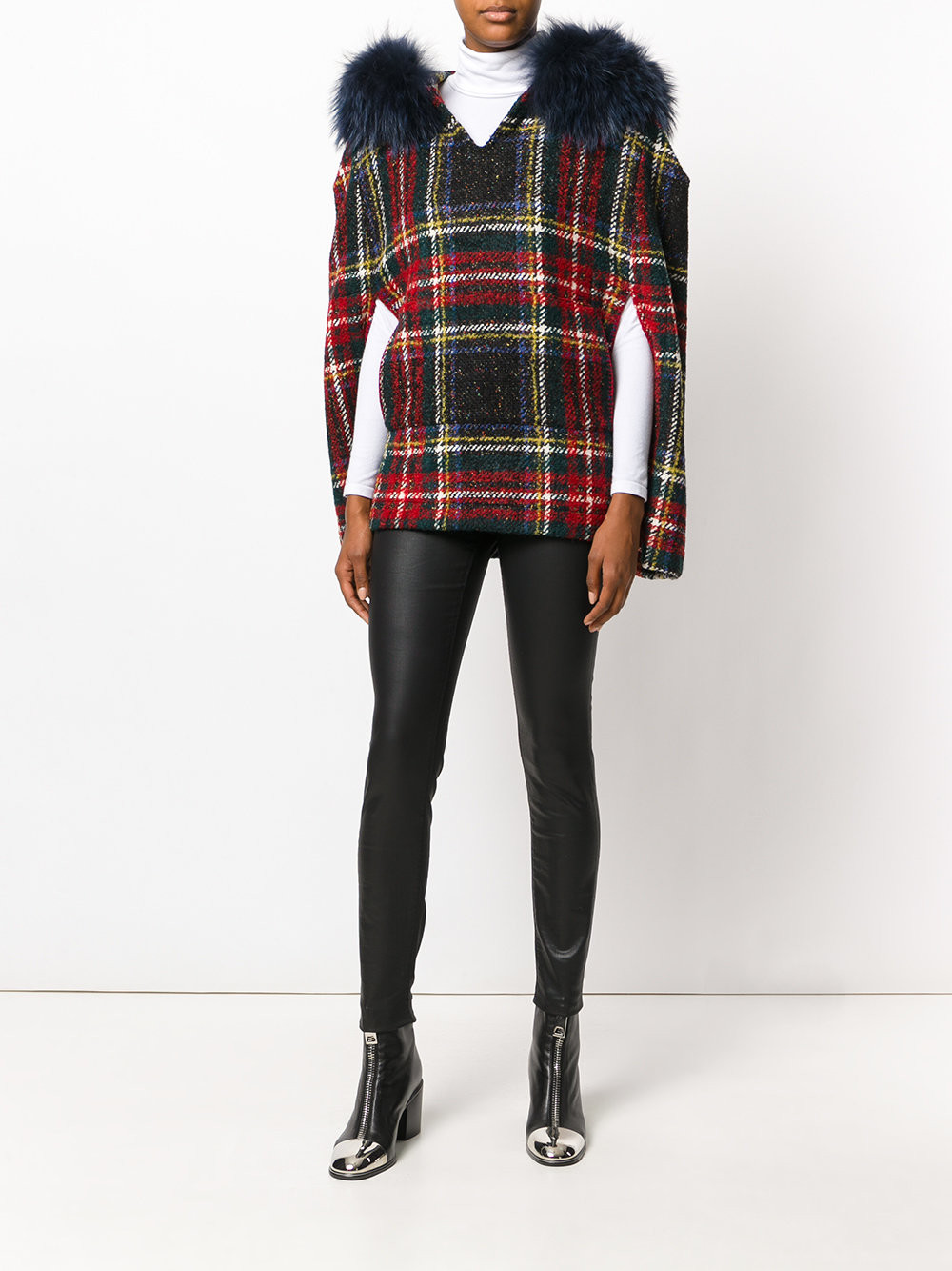 Mr. & Mrs. Italy faux fur plaid cape $1,202