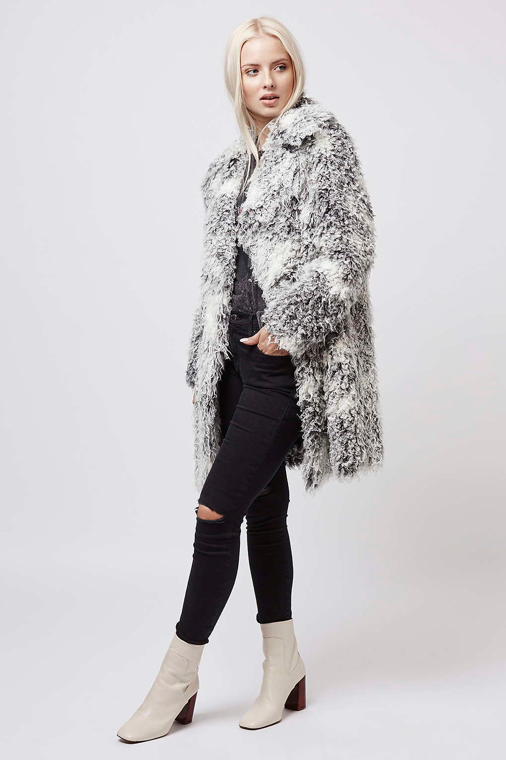 Topshop-Curly Faux Fur Double Breasted Coat-$180