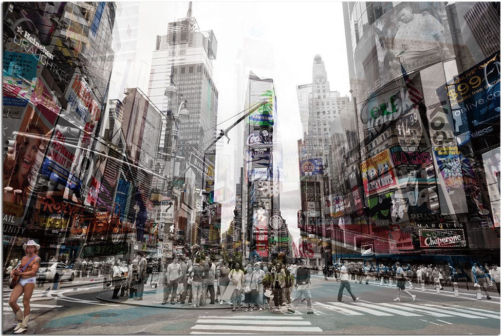 Modern Home Tempered Glass Ultra-high Resolution 3D Times Square 'New York 4' Wall Art $97.99 -available on Overstock.com