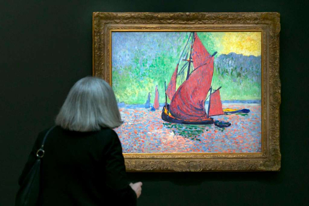 """Andre Derain's """"Red Sails being viewed during the spring auction preview at Sotheby's (Check out Sotheby's calendar for more auction viewings)"""