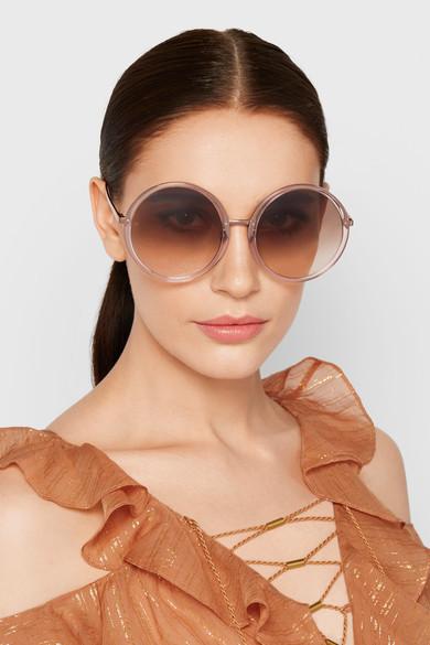 Linda Farrow Round-frame acetate and rose gold-tone sunglasses $645