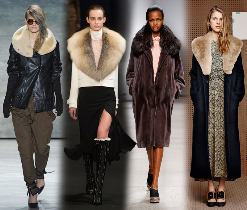 (L to R) Faux fur collar-Nicolas K, Altuzarra, Creatures of the Wind, Band of Outsiders
