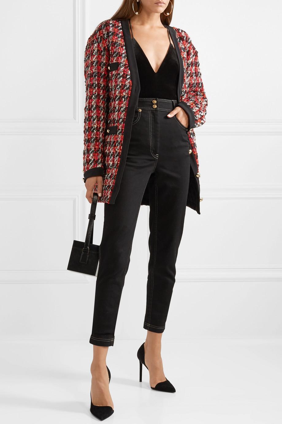 Alessandra Rich Oversized bouclé-tweed cardigan $694.50