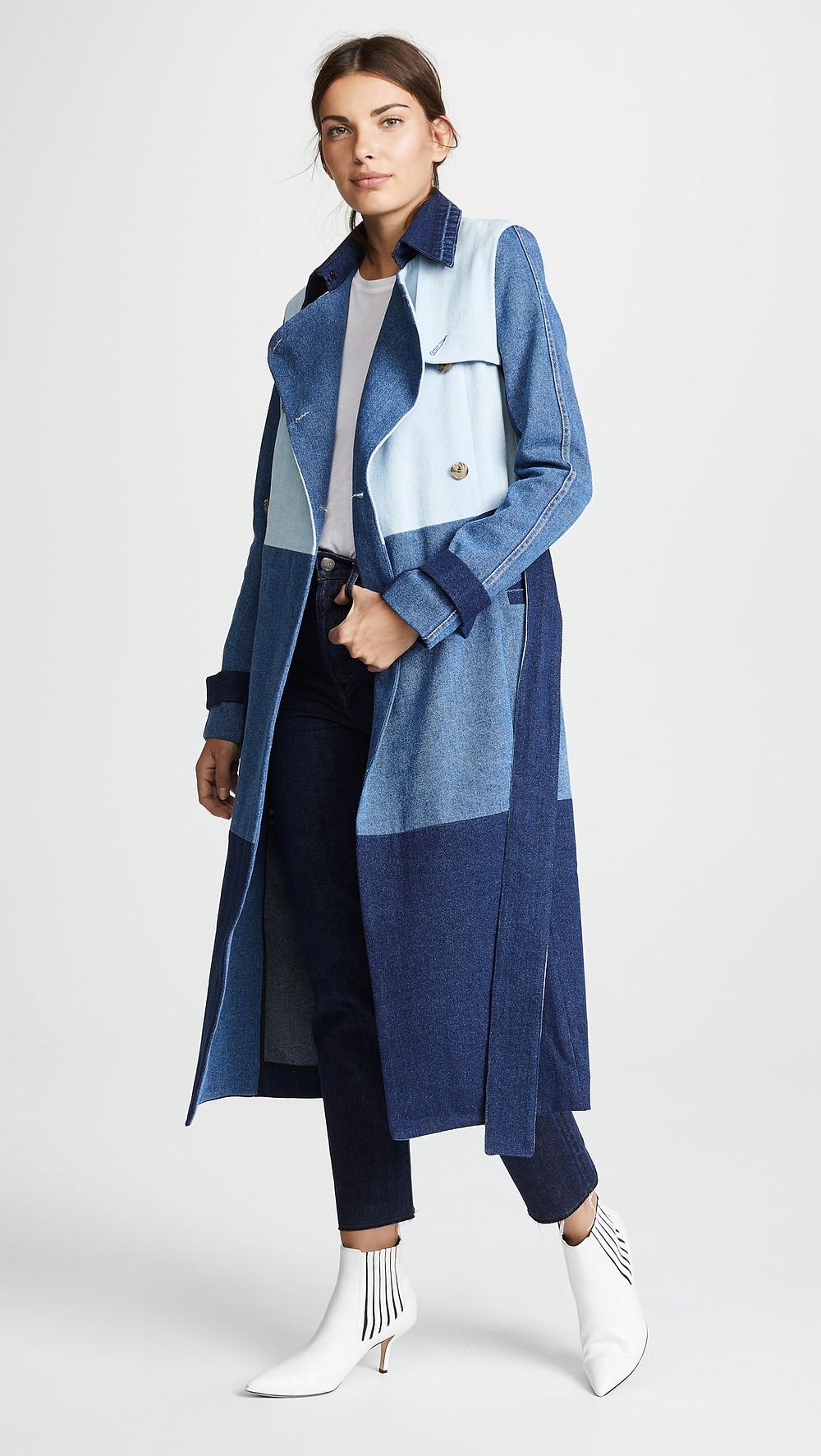 Ksenia Schnaider Denim Patchwork Coat $975