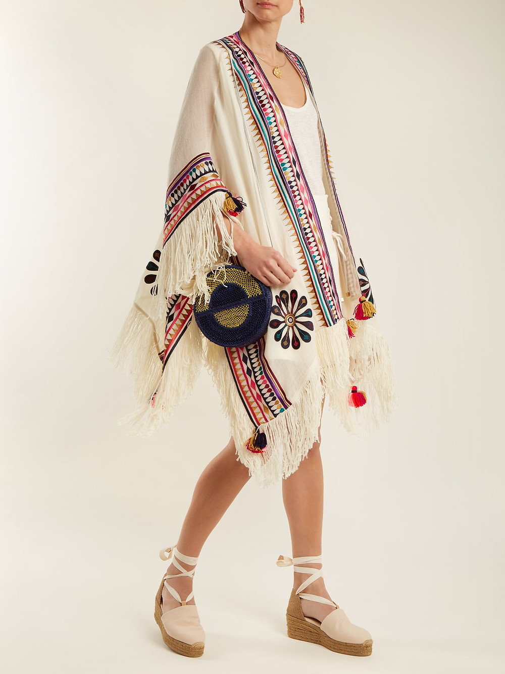 Figue Katrine embroidered wool-blend twill poncho $719