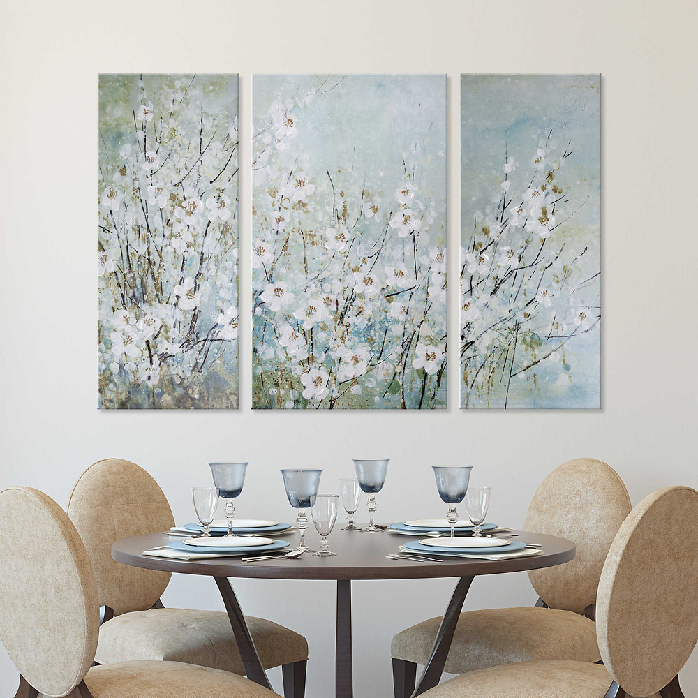 """""""Blossoming Branches"""" 36-Inch x 51-Inch 3-Piece Canvas Wall Art Set $79.99"""