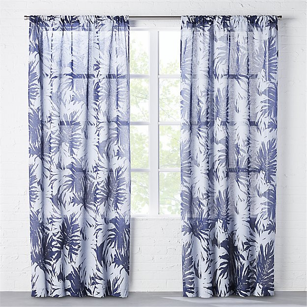 the hill-side palm leaves sheer navy curtain panel $29.99-$59.99