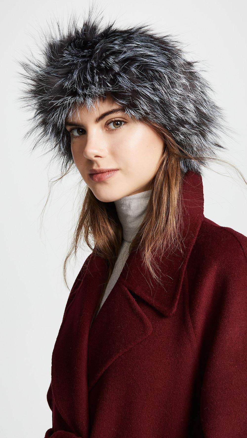 Adrienne Landau Natural Fox Fur Headband $120