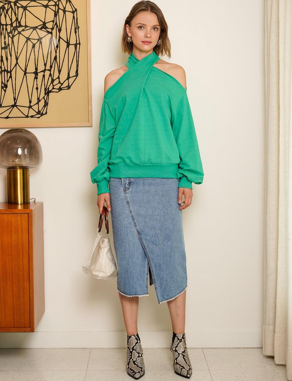 Pixie Market Nico Mint Green Sweatshirt $96