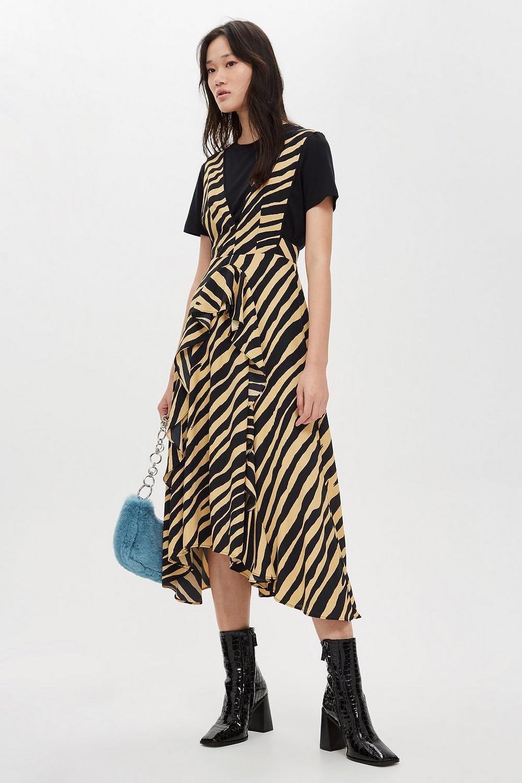 Topshop Petite Sand Zebra Pinafore Dress $100