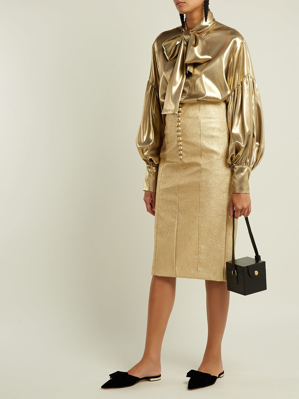 Hillier Bartley Metallic buttoned faux-leather pencil skirt $793