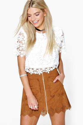 Boohoo laser cut suede zip front skirt $26