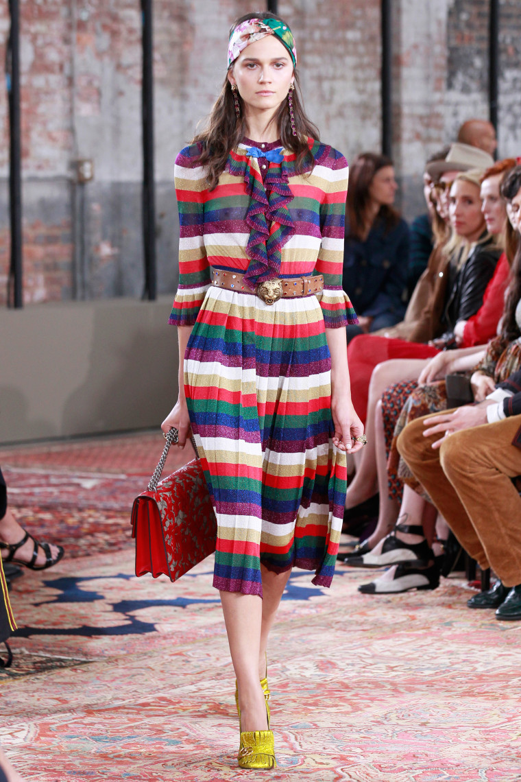 Gucci Cruise 2016 collection rainbow stripe runway look (shop the look)