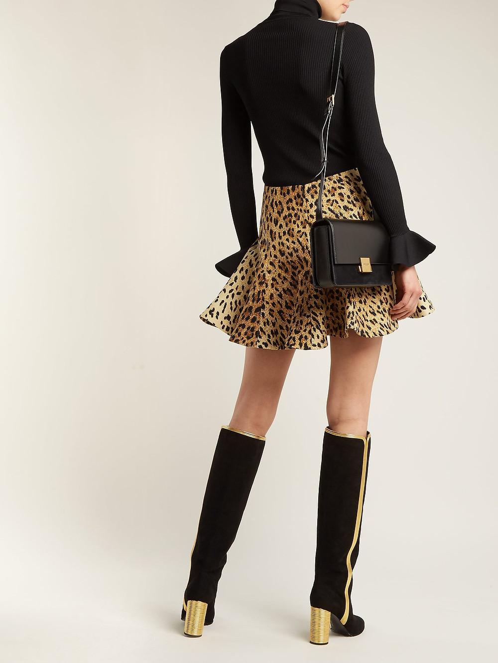 Valentino Flared leopard-print mini skirt $1,980