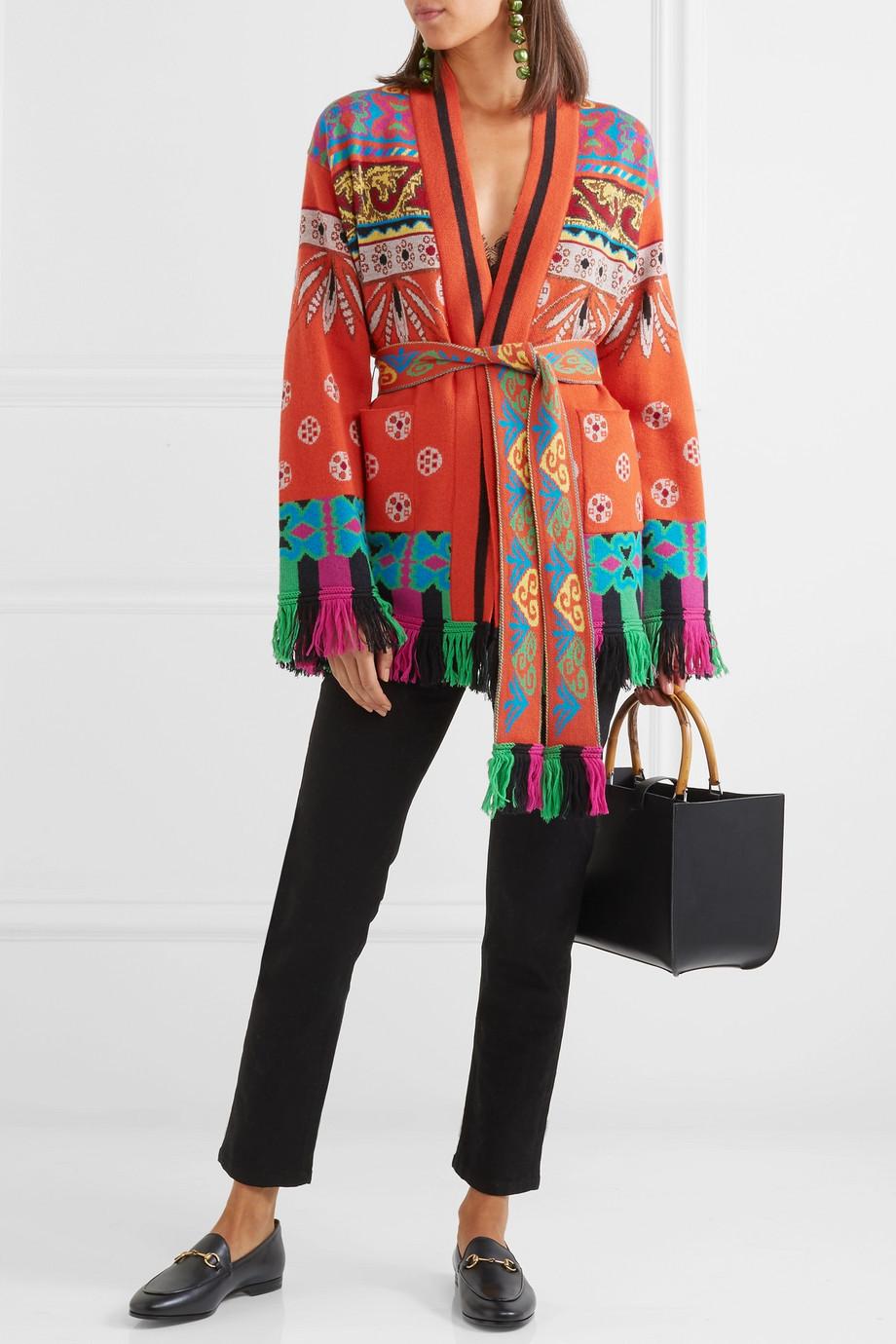 Etro Fringed wool-blend jacquard cardigan $1,190