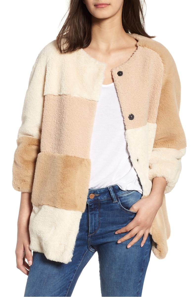 BCBGeneration Patchwork Faux Fur Jacket $129.90