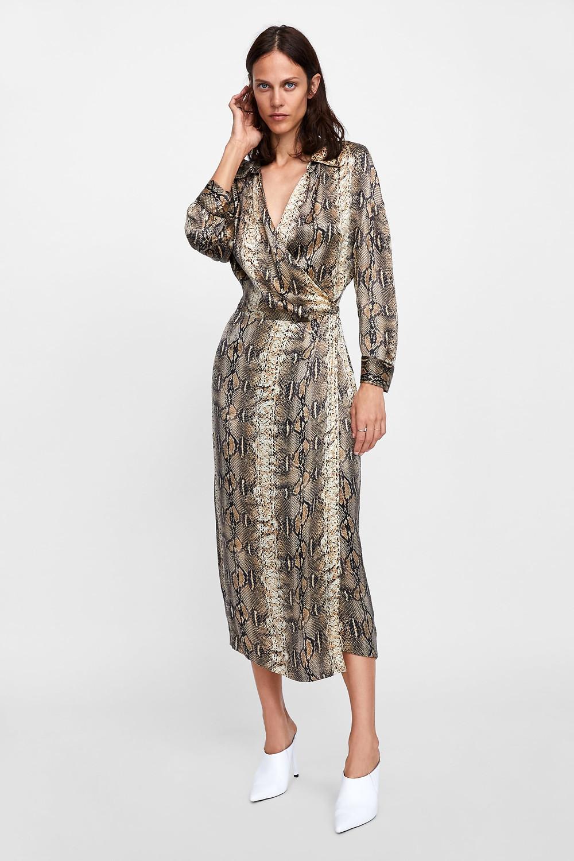 Zara Snakeskin Printed Shirt Dress $119