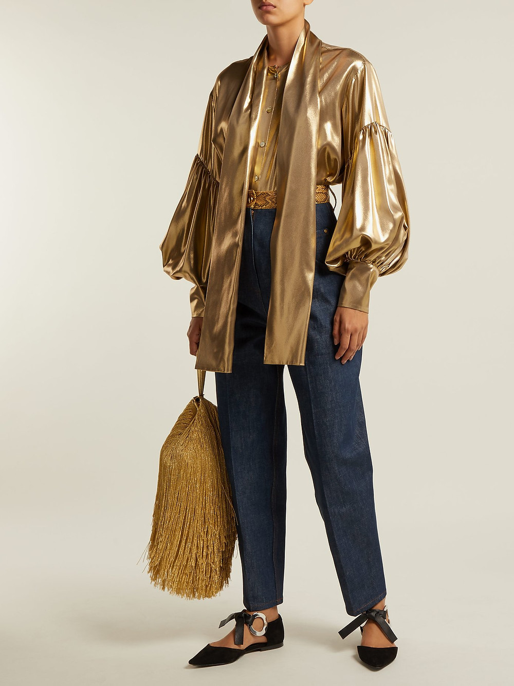 Hillier Bartley Faux snakeskin-trim jeans $513