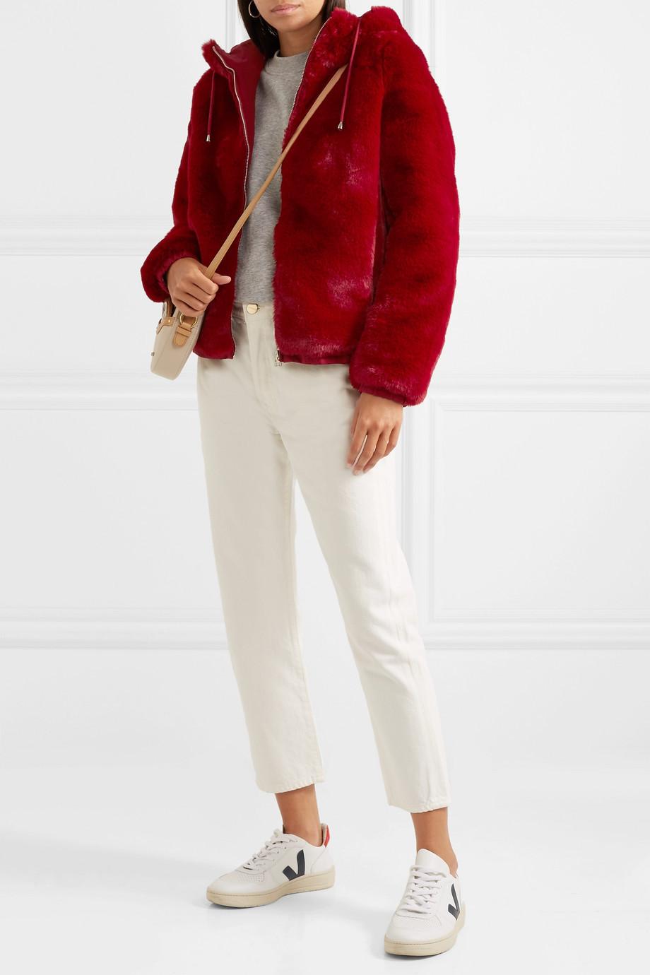 Maje Hooded faux fur jacket $425