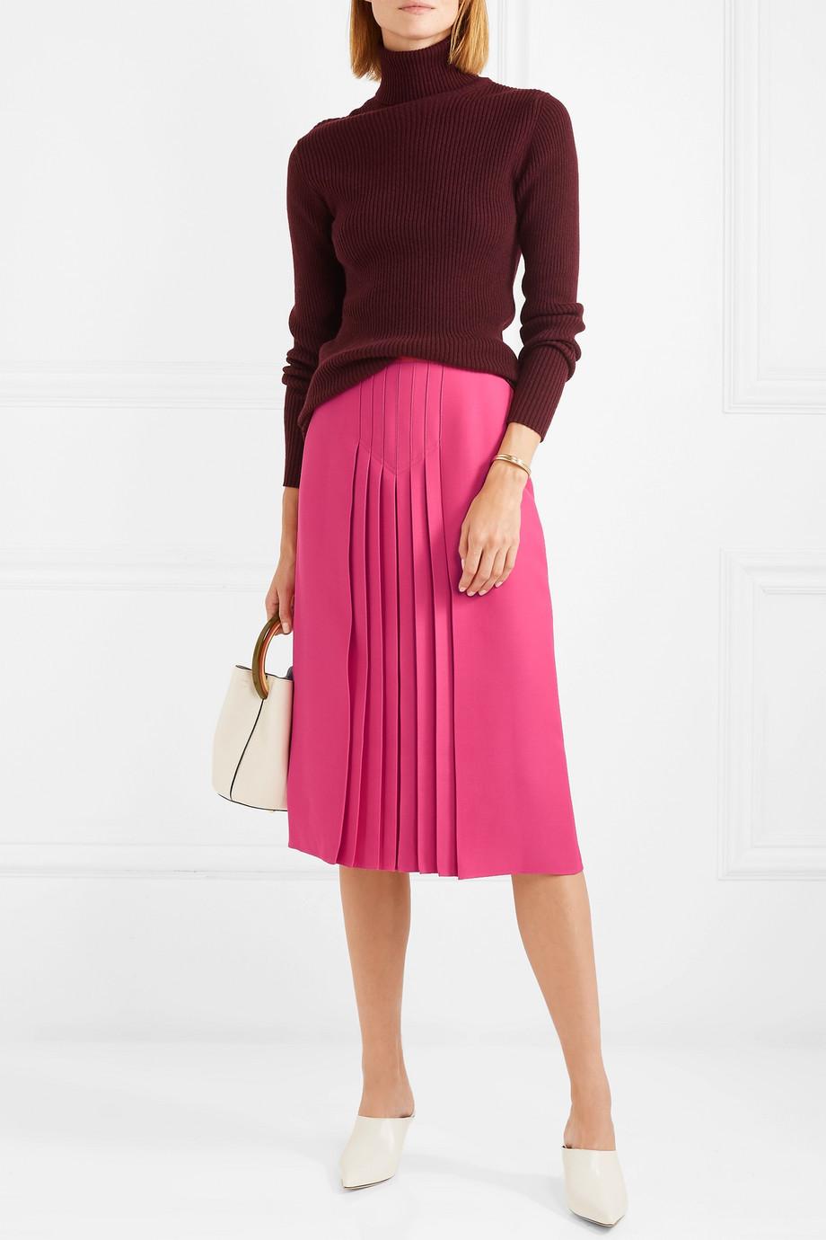 Valentino Pleated silk and wool-blend midi skirt $2,590
